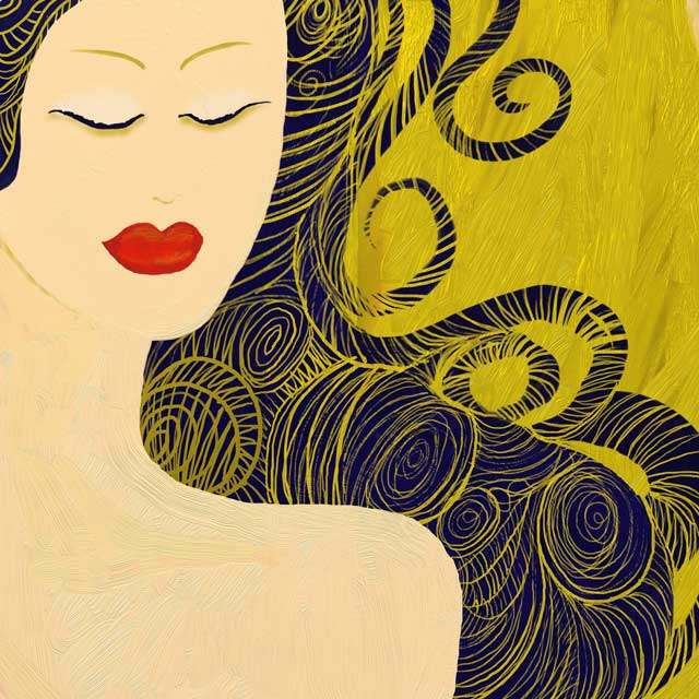 self-care - drawing of female with eyes closed, long swirling black hair on top of gold background