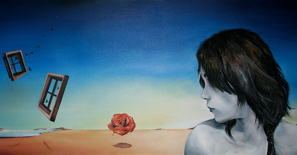 nostalgia - artistic image with woman's profile in the left corner, background is gradients of blue with two windows suspended mid air and a rose