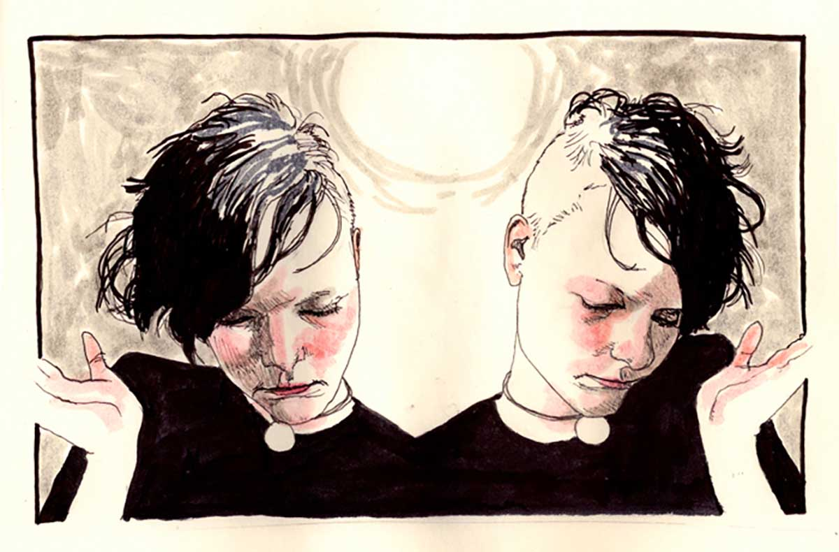 drawing of two people, mirror images, with half side of the head shaved, the other black hair cheek bone length, eyes looking down, had to side, for article on finding your true identity in recovery
