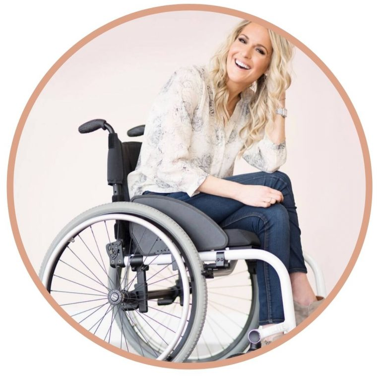 image of Anna Sweeney, guest on In This Body, sitting in wheelchair and smiling
