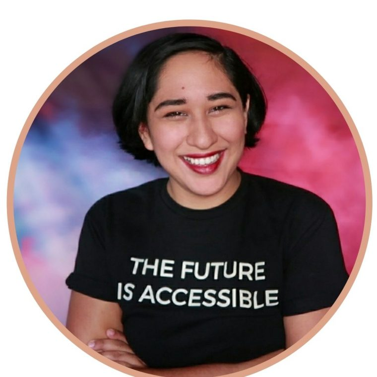 Image of Annie Segarra, wearing a black t-shirt that says in white letters: The Future Is Accessible
